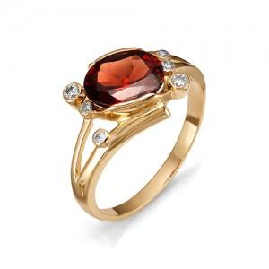 Кольцо из красного золота 585 пробы с полудрагоценными камнями арт. 11-11-124