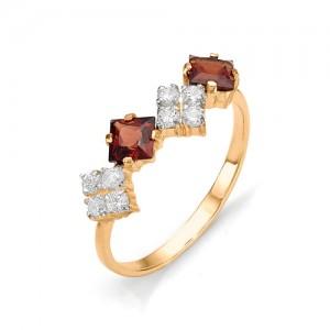 Кольцо из красного золота 585 пробы с полудрагоценными камнями арт. 11-11-132