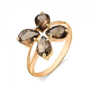 Кольцо из красного золота 585 пробы с полудрагоценными камнями арт. 11-14-126