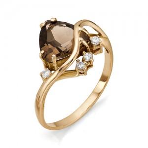 Кольцо из красного золота 585 пробы с полудрагоценными камнями арт. 11-14-159