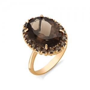 Кольцо из красного золота 585 пробы с полудрагоценными камнями арт. 11-14-272