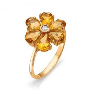 Кольцо из красного золота 585 пробы с полудрагоценными камнями арт. 11-15-151