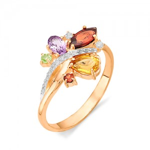 Кольцо из красного золота 585 пробы с полудрагоценными камнями арт. 11-22-328
