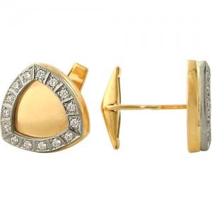 Запонки из красного золота 585 пробы с фианитами арт. 028-1-660
