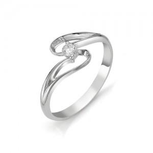 Кольцо из белого золота 585 пробы с бриллиантом арт. 12-03-316