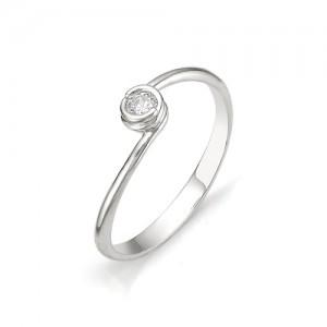 Кольцо из белого золота 585 пробы с бриллиантом арт. 12-03-319