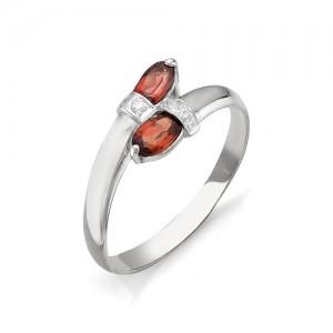 Кольцо из серебра 925 пробы с полудрагоценными камнями арт. 13-11-008
