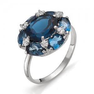 Кольцо из серебра 925 пробы с полудрагоценными камнями арт. 13-19-222