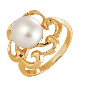 Кольцо из красного золота 585 пробы с жемчугом арт. 190-1-266