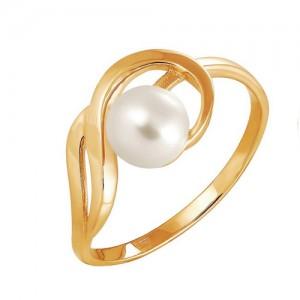 Кольцо из красного золота 585 пробы с жемчугом арт. 190-1-268