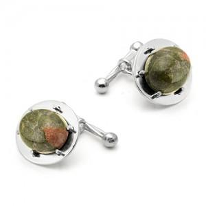 Запонки из серебра 925 пробы с Уникитом , арт.12-3-27-001