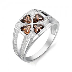 Перстень из серебра 925 пробы с раух-топазами арт. 93-14-024