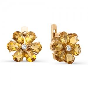 Серьги из красного золота 585 пробы с полудрагоценными камнями арт. 21-15-151