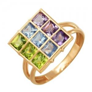 Кольцо из красного золота 585 пробы с полудрагоценными камнями арт. 11-22-224