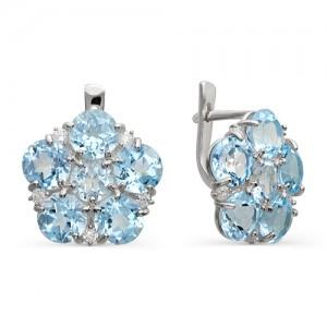 Серьги из серебра 925 пробы с полудрагоценными камнями арт. 23-10-242