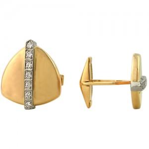 Запонки из красного золота 585 пробы с фианитами арт. 028-1-671