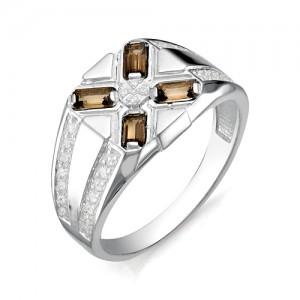 Перстень из серебра 925 пробы с раух-топазами арт. 93-14-026