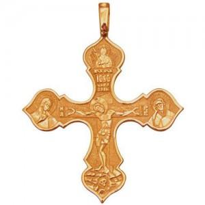 Крест из красного золота 585 пробы арт. 300-1-246