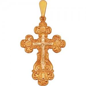 Крест из красного золота 585 пробы арт. 300-1-292
