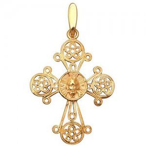 Крест из красного золота 585 пробы арт. 300-1-305