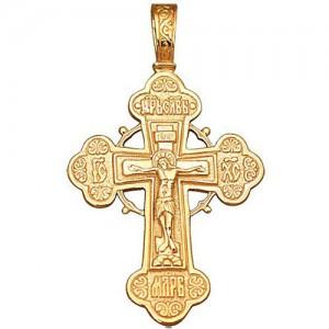 Крест из красного золота 585 пробы арт. 300-1-385