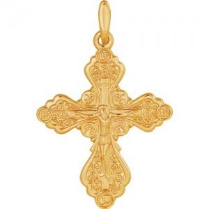 Крест из красного золота 585 пробы арт. 300-1-444