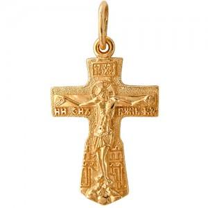 Крест из красного золота 585 пробы арт. 300-1-483