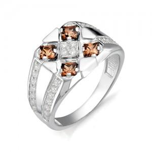 Перстень из серебра 925 пробы с раух-топазами  арт. 93-14-027