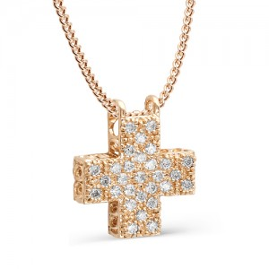 Подвеска-крестик из красного золота 585 пробы арт.71-02-009