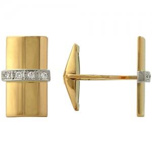 Запонки из красного золота 585 пробы с фианитами арт. 028-1-665