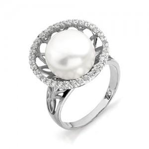 Кольцо из серебра 925 пробы с жемчугом арт. К-0010
