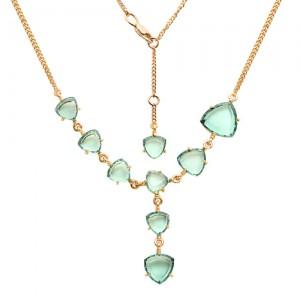 Ожерелье из красного золота 585 пробы с зелеными кварцами арт. О-0011