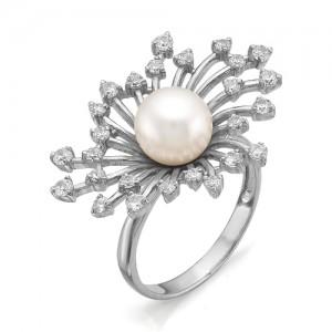 Кольцо из серебра 925 пробы с жемчугом арт. К-0062