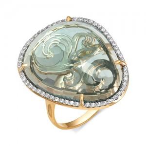 Кольцо из красного золота 585 пробы с аквамариновым кварцем арт.К-1107А