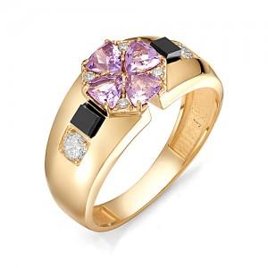 Перстень из золота 585 пробы с аметистом арт. 91-02-122