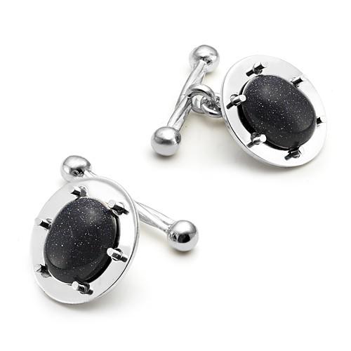 Запонки из серебра 925 пробы с Авантюрином черным