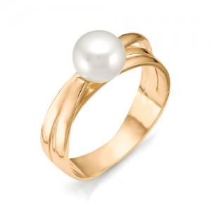 Кольцо из красного золота 585 пробы с жемчугом арт. 11-04-033