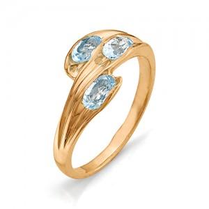 Кольцо из красного золота 585 пробы с полудрагоценными камнями арт. 11-10-004
