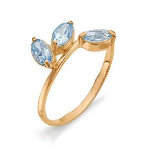 Кольцо из красного золота 585 пробы с полудрагоценными камнями арт. 11-10-015