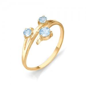 Кольцо из красного золота 585 пробы с полудрагоценными камнями арт. 11-10-098