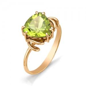 Кольцо из красного золота 585 пробы с полудрагоценными камнями арт. 11-12-178