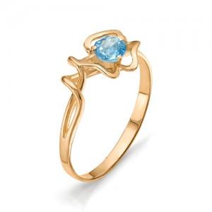 Кольцо из красного золота 585 пробы с полудрагоценными камнями арт. 11-10-182