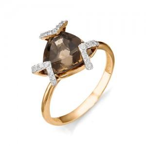 Кольцо из красного золота 585 пробы с полудрагоценными камнями арт. 11-14-190