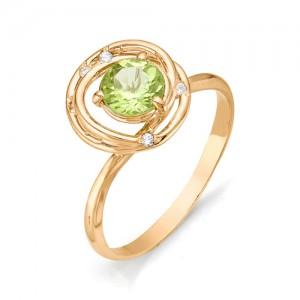 Кольцо из красного золота 585 пробы с полудрагоценными камнями арт. 11-12-198