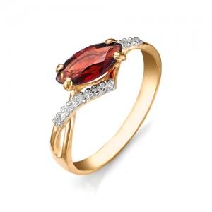 Кольцо из красного золота 585 пробы с полудрагоценными камнями арт. 11-11-207
