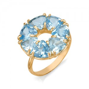 Кольцо из красного золота 585 пробы с полудрагоценными камнями арт. 11-10-212