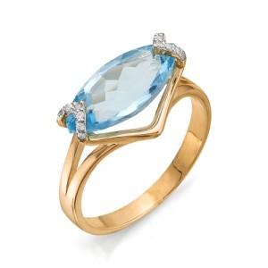 Кольцо из красного золота 585 пробы с полудрагоценными камнями арт. 11-10-216