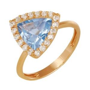 Кольцо из красного золота 585 пробы с полудрагоценными камнями арт. 11-10-249