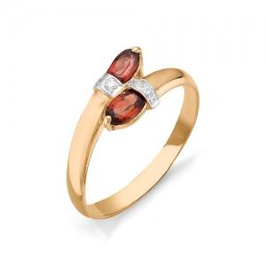 Кольцо из красного золота 585 пробы с полудрагоценными камнями арт. 11-11-008