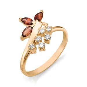 Кольцо из красного золота 585 пробы с полудрагоценными камнями арт. 11-11-097
